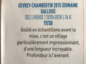 Bettane & Desseauve 2018 Gevrey village 2015
